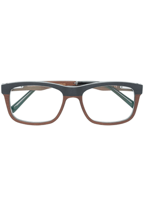 Gold And Wood square frame glasses - Multicolour