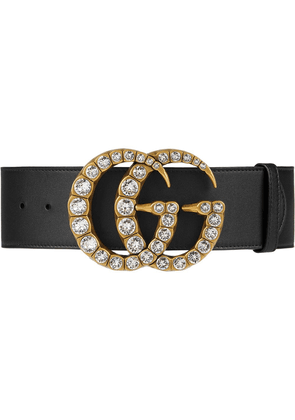 Gucci Leather belt with crystal Double G buckle - Black
