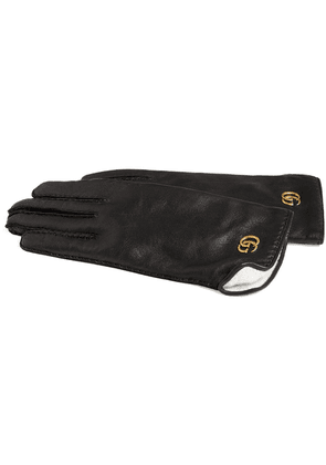 Gucci Leather gloves with Double G - Black