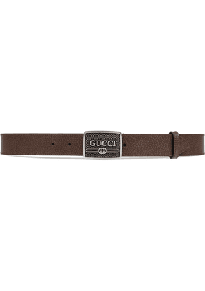 Gucci Leather belt with Gucci logo buckle - Brown