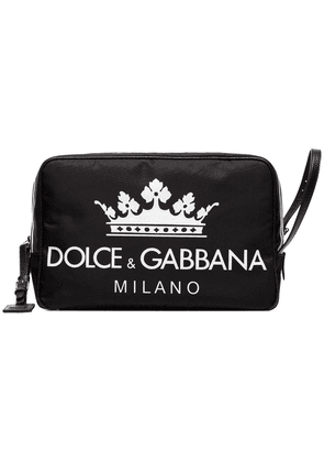 Dolce & Gabbana black DG logo leather wash bag