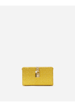 Dolce & Gabbana Mini Bags and Clutches - DOLCE BOX CLUTCH WITH HEAT-APPLIED RHINESTONES YELLOW