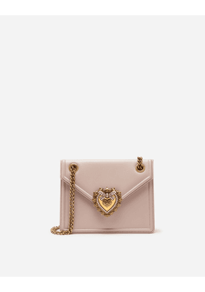 Dolce & Gabbana Mini Bags and Clutches - MEDIUM DEVOTION BAG IN SMOOTH CALFSKIN LEATHER PALE PINK