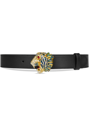 Gucci Leather belt with tiger head - Black