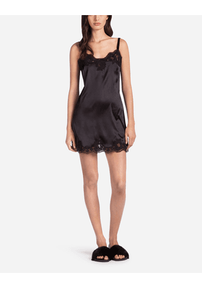 Dolce & Gabbana Underwear - SLIP DRESS IN SILK WITH EMBROIDERY BLACK