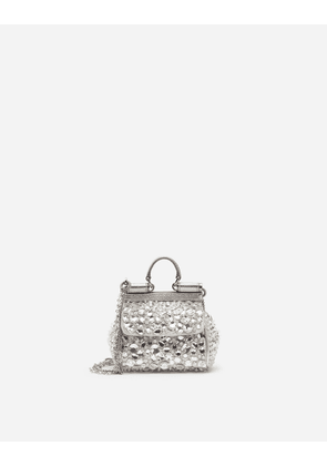 Dolce & Gabbana Mini Bags and Clutches - MICRO SICILY BAG IN SATIN WITH EMBROIDERIES SILVER