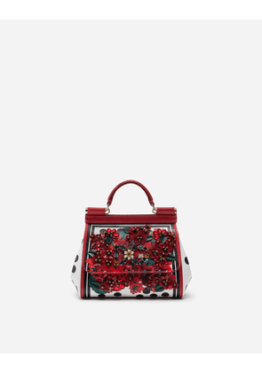 Dolce & Gabbana Mini Bags and Clutches - MINI SICILY BAG IN PORTOFINO-PRINT CALFSKIN WITH EMBROIDERY FLORAL PRINT
