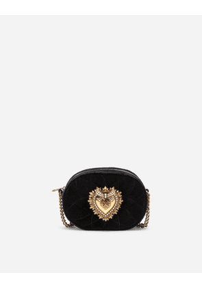 Dolce & Gabbana Mini Bags and Clutches - DEVOTION CAMERA BAG IN QUILTED SMOOTH VELVET BLACK