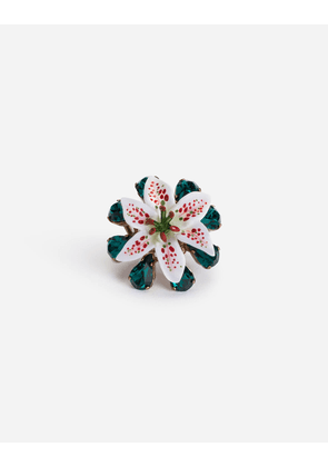 Dolce & Gabbana Bijoux - RING WITH RHINESTONES AND RESIN LILY EMBELLISHMENT GOLD
