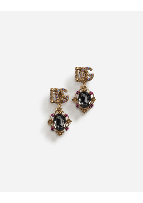 Dolce & Gabbana Bijoux - DROP EARRINGS WITH DECORATIVE RHINESTONE AND LOGO DETAILS GOLD