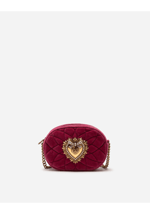 Dolce & Gabbana Mini Bags and Clutches - DEVOTION CAMERA BAG IN QUILTED SMOOTH VELVET RED