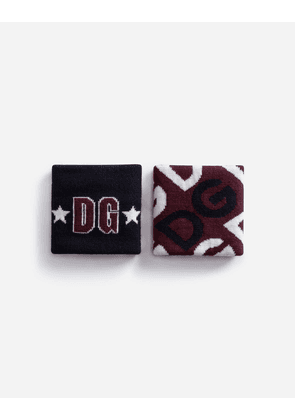 Dolce & Gabbana Hats and Gloves - STRETCHY WOOL WRISTBANDS WITH JACQUARD DG LOGO MULTICOLOR