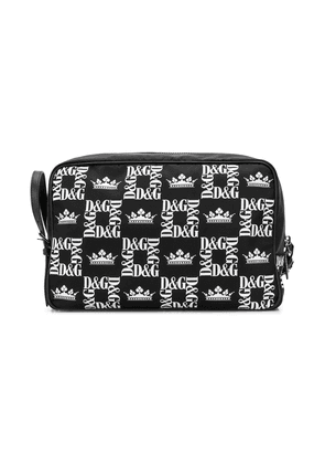 Dolce & Gabbana logo check-print wash bag - Black