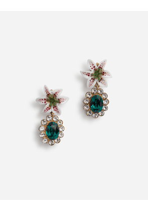 Dolce & Gabbana Bijoux - DROP EARRINGS WITH RHINESTONES AND RESIN LILY EMBELLISHMENT MULTICOLOR