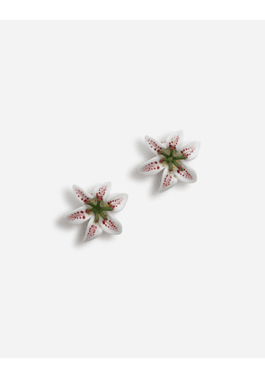 Dolce & Gabbana Bijoux - EARRINGS WITH RESIN LILY EMBELLISHMENT WHITE