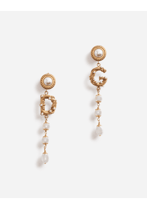 Dolce & Gabbana Bijoux - DROP EARRINGS WITH DECORATIVE LOGO AND PEARL DETAILS GOLD