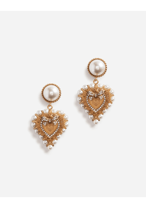 Dolce & Gabbana Bijoux - DROP EARRINGS WITH DECORATIVE SACRED HEART AND PEARL DETAILS GOLD