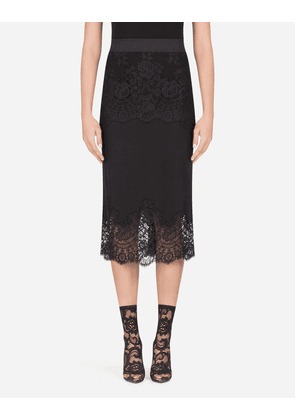 Dolce & Gabbana Underwear - CREPE DE CHINE MIDI SKIRT WITH LACE DETAILS BLACK