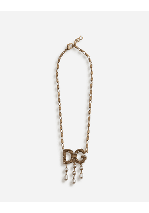 Dolce & Gabbana Bijoux - SHORT NECKLACE WITH LOGO DETAIL AND PEARLS GOLD