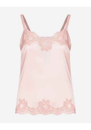 Dolce & Gabbana Underwear - SATIN LINGERIE TOP WITH LACE PINK