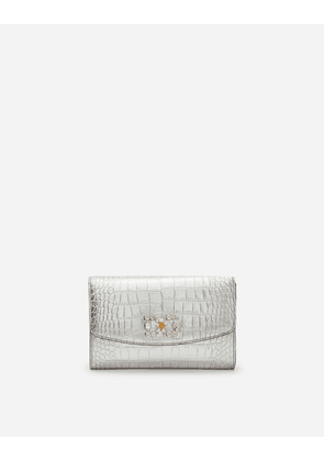 Dolce & Gabbana Mini Bags and Clutches - LAMINATED CROCODILE PRINT MICRO-BAG SILVER