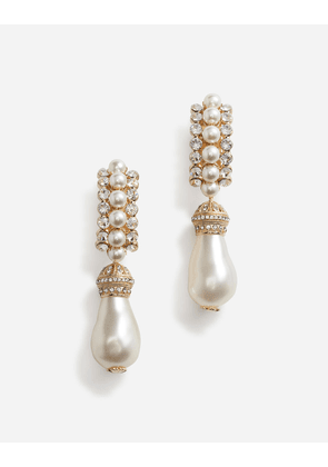Dolce & Gabbana Bijoux - PENDANT CLIP-ON PEARL AND RHINESTONE EARRINGS GOLD
