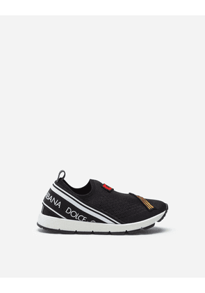 Dolce & Gabbana Shoes - MESH SORRENTO SLIP-ON SNEAKERS WITH PATCH BLACK