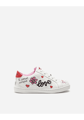 Dolce & Gabbana Shoes - LEATHER SNEAKERS WITH PATCH WHITE