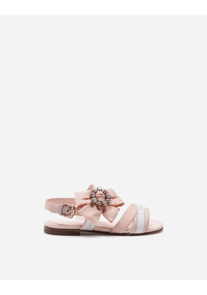 Dolce & Gabbana Shoes - CHARMEUSE SANDALS WITH LOGO TAPE AND JEWEL PINK