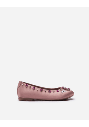 Dolce & Gabbana Shoes - SATIN BALLET FLATS WITH MULTI-COLORED CRYSTALS PINK