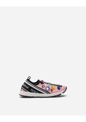 Dolce & Gabbana Shoes - SORRENTO SNEAKERS WITH RHINESTONES AND EMBROIDERY PINK