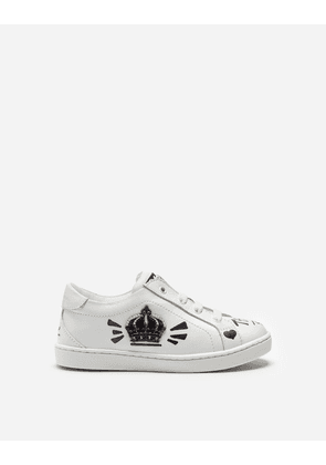 Dolce & Gabbana Shoes - LEATHER SNEAKERS WITH PRINT WHITE