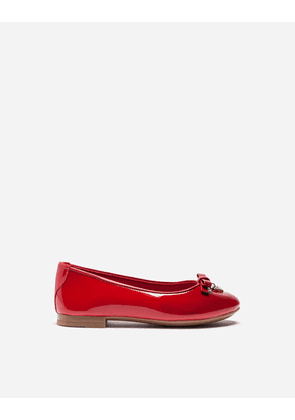 Dolce & Gabbana Shoes - PATENT LEATHER BALLET FLATS WITH CHARM RED