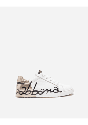 Dolce & Gabbana Shoes - LEATHER SNEAKERS WHITE/GOLD