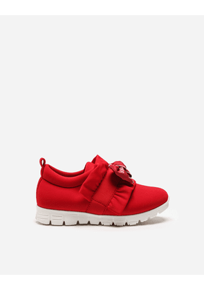 Dolce & Gabbana Shoes - LYCRA SNEAKERS WITH BOW RED