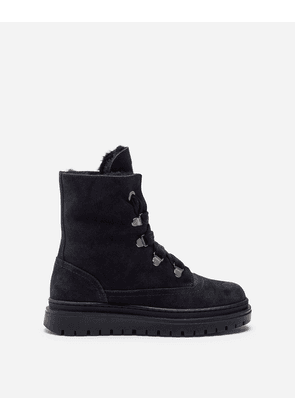Dolce & Gabbana Shoes - SPLIT-GRAIN LEATHER AND SHEARLING COMBAT BOOTS WITH LOGO TAPE BLUE