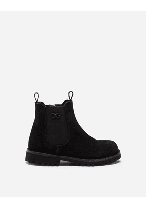 Dolce & Gabbana Shoes - SPLIT-GRAIN LEATHER AND SHEARLING BEATLE BOOTS BLACK