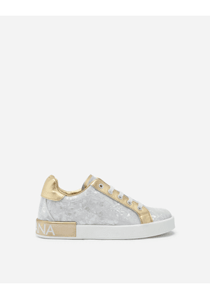 Dolce & Gabbana Shoes - PATENT LEATHER MOTHER-OF-PEARL PRINT PORTOFINO SNEAKERS WHITE