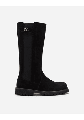 Dolce & Gabbana Shoes (24-38) - SUEDE BOOTS WITH SHEEPSKIN LINING BLACK