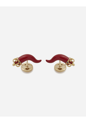 Dolce & Gabbana Jewelry - GOOD LUCK CUFFLINKS IN ENAMELLED YELLOW GOLD GOLD