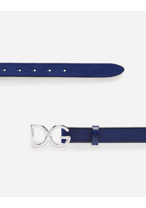 Dolce & Gabbana Belts - TUMBLED LEATHER BELT BLUE