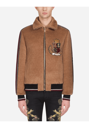 Dolce & Gabbana Sweatshirts - FAUX FUR JACKET WITH PATCH AND ZIP BEIGE