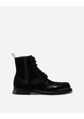 Dolce & Gabbana Boots - BRUSHED CALFSKIN ANKLE BOOTS BLACK