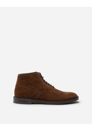 Dolce & Gabbana Boots - SPLIT-GRAIN LEATHER ANKLE BOOTS BROWN