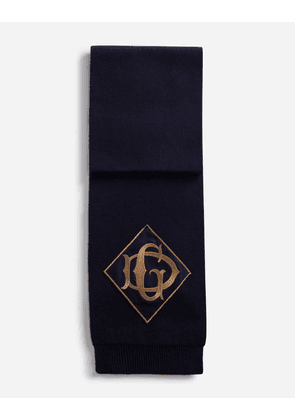 Dolce & Gabbana Scarves and Silks - WOOL SCARF WITH PATCH BLUE