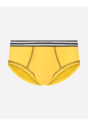 Dolce & Gabbana Underwear - BRANDO BRIEFS IN TWO-WAY STRETCH COTTON JERSEY YELLOW