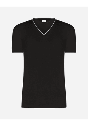Dolce & Gabbana Underwear - STRETCH COTTON V-NECK T-SHIRT BLACK