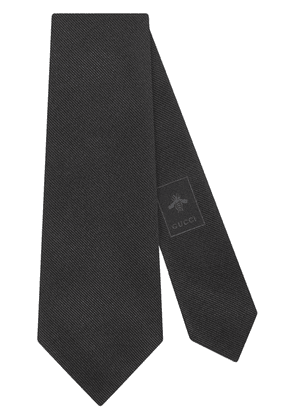 Gucci silk tie with Gucci Band embroidery - Black