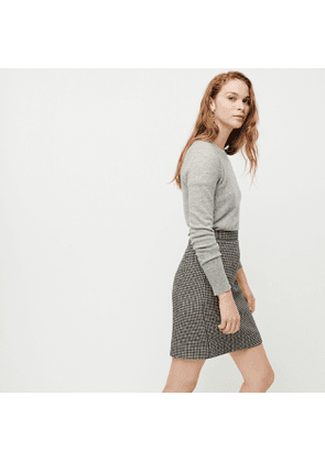 Tall wool mini skirt in houndstooth
