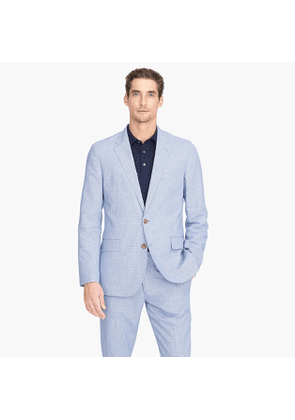 Ludlow Slim-fit unstructured suit jacket in microhoundstooth cotton-linen